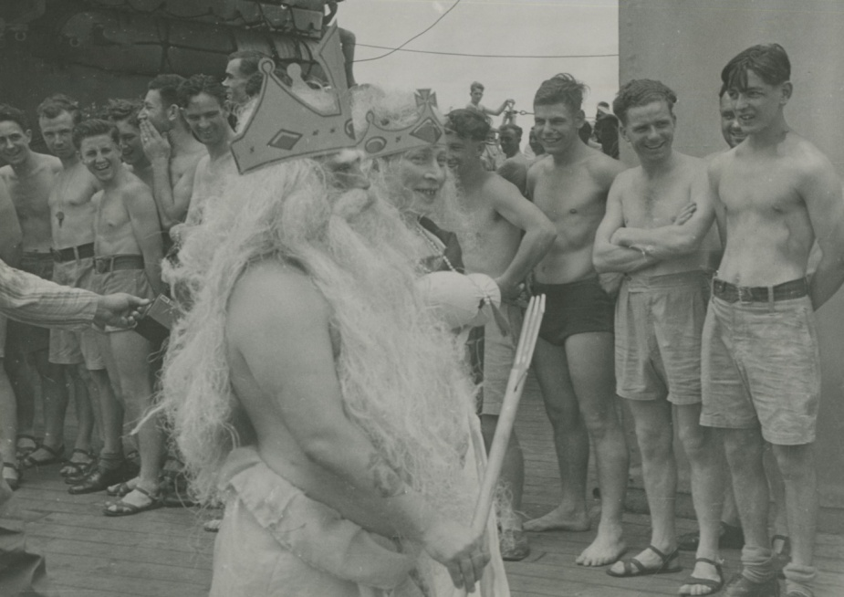 The ceremony was a much anticipated break from a ship's normal routine. This pageant took place onboard HMAS Australia (II).