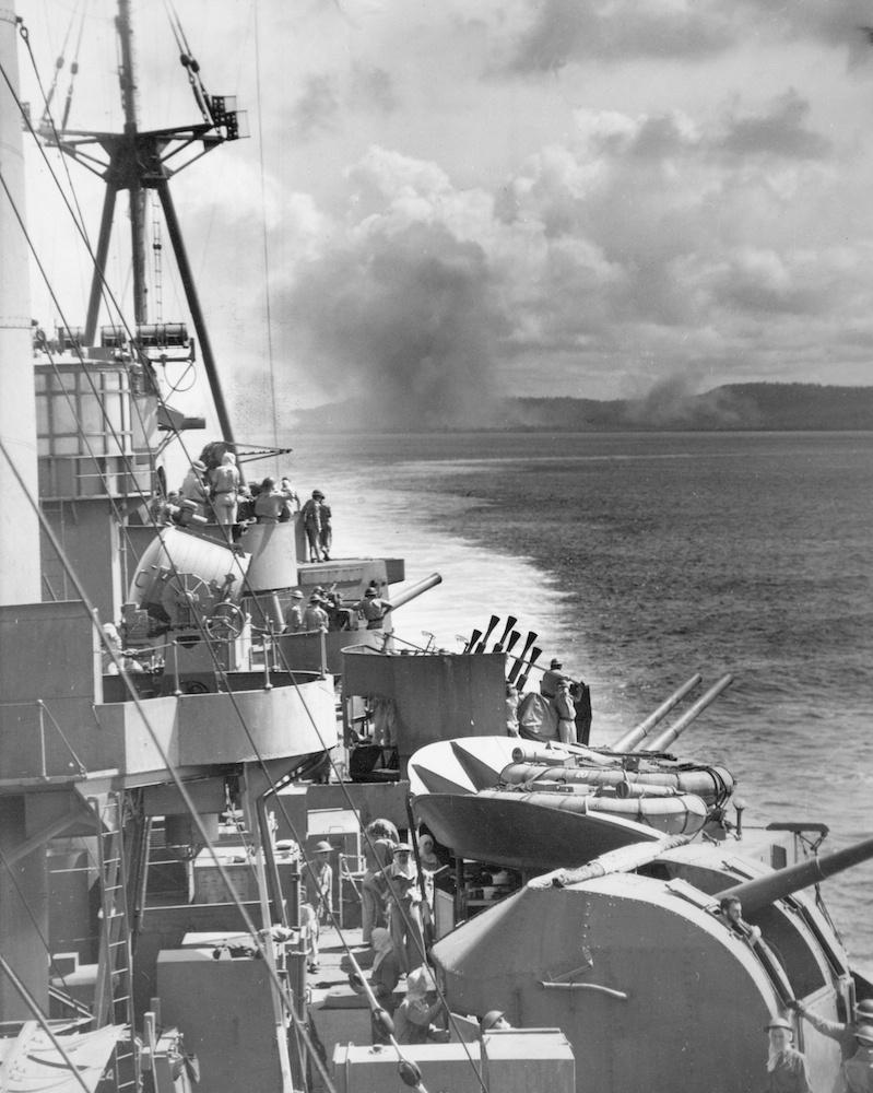 HMAS Australia's gun crews closed up during a shore bombardment