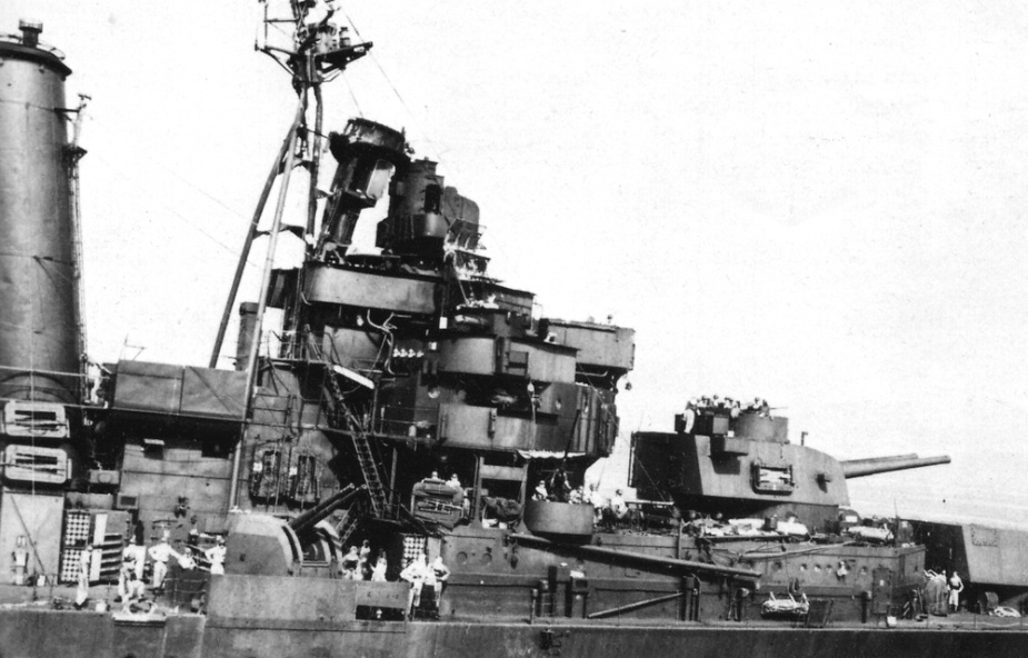 The damage to Australia's bridge and foremast following the aerila attack of 21 October 1944.