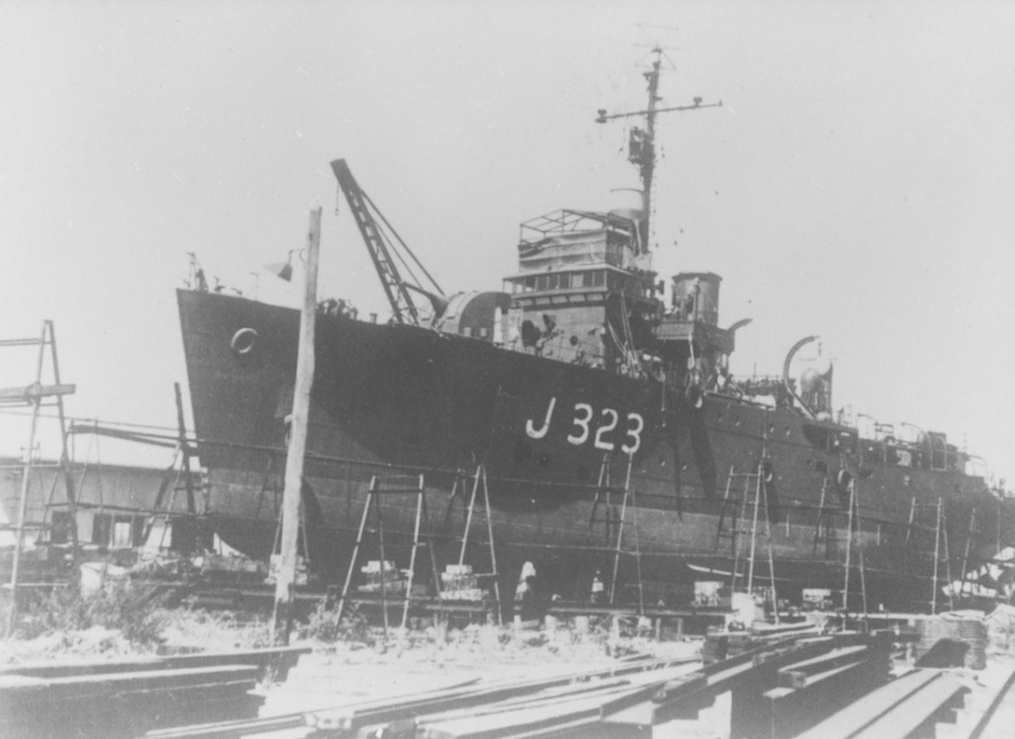 HMAS Benalla during her 1943 refit in Sydney.
