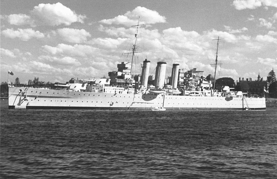HMAS Canberra (I) moored in Sydney Harbour