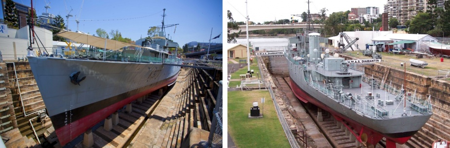 The former HMAS Diamantina as a museum ship in Brisbane, Queensland.