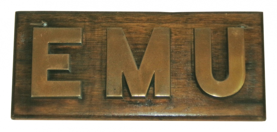 HMAS Emu name board now displayed in the Naval Heritage Collection, Sydney.