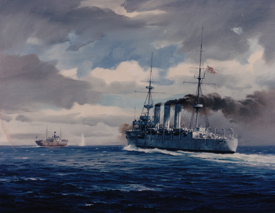 HMAS Encounter capturing Zambezi in August 1914. Painting by Phil Belbin (Naval Heritage Collection)