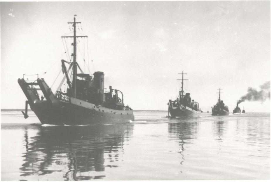 HMAS Kangaroo in company with her sister ships HMAS Koala and HMAS Karangi