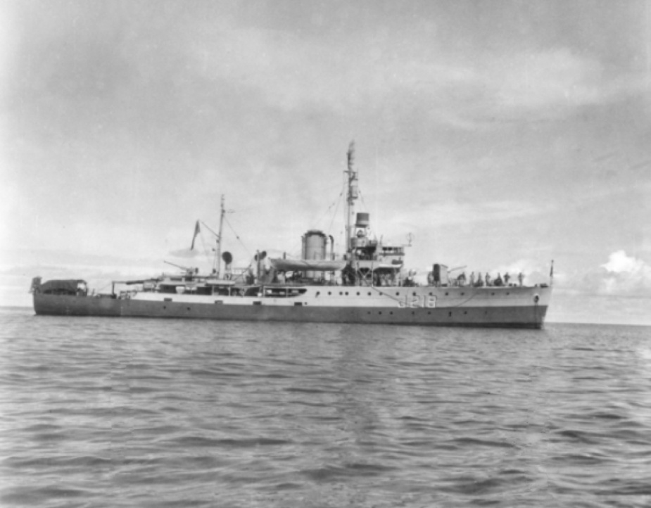 Kapunda at anchor in Ranai Bay c.1945 (AWM 120645).