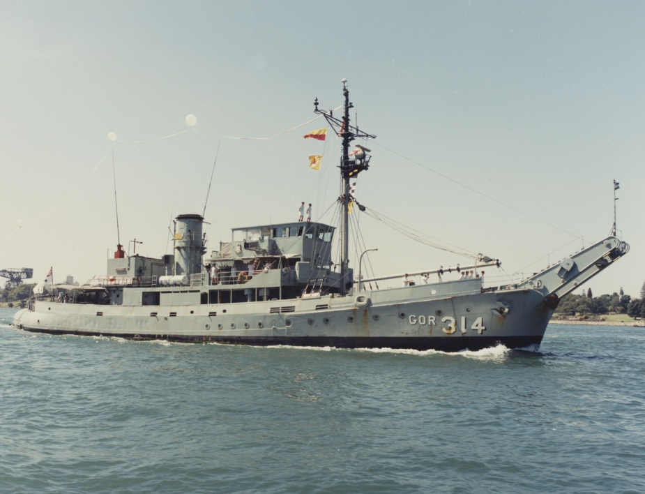 HMAS Kimbla flying her decommissioning pennant after 29 years service for the Royal Australian Navy