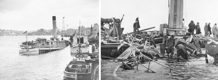Left: The requisitioned ferry Kuttabul lying on the seabed following M-24's torpedo attack. Right: Workers sift through the remains of Kuttabul