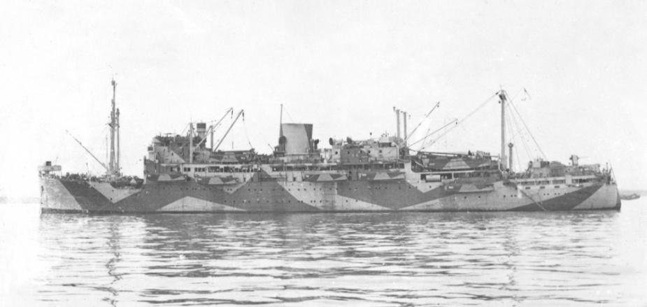Manoora wearing her 'dazzle' disruptive camouflage paint scheme c. 1944.