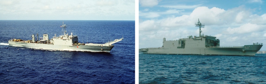 HMAS Manoora before and after her conversion. Note the addition of the 70 tonne crane, significant alterations to the bow and additional superstructure amidships.