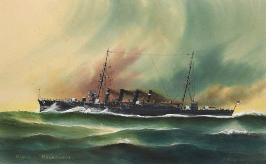 HMAS Melbourne by A.V. Gregory (Naval Heritage Collection)