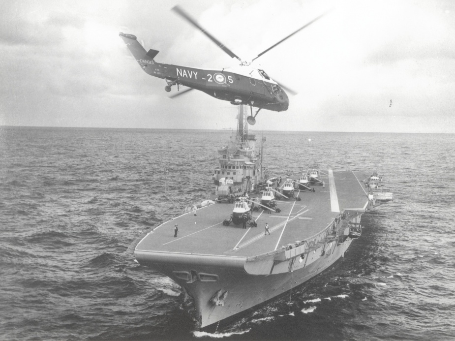 Melbourne conducting flying operations with Westland Wessex anti-submarine warfare helicopters.