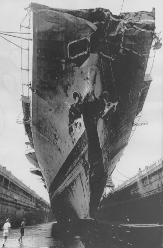 HMAS Melbourne undergoing temporary repairs in Singapore.