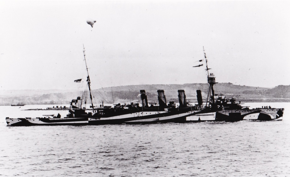 HMAS Melbourne wearing her wartime dazzle pattern camouflage