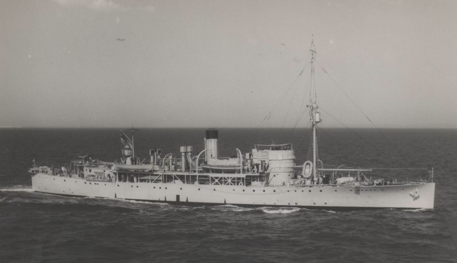 HMAS Moresby, circa 1943. Later that year she was painted Chicago blue for service charting waters in northern Australia and New Guinea.