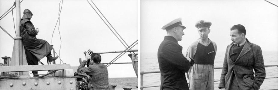 Cameraman on board HMAS Orara during minesweeping operations in Bass Strait 1941. (AWM)