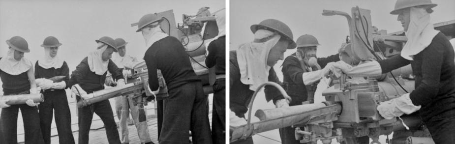 Gunnery training on board HMAS Orara. (AWM)