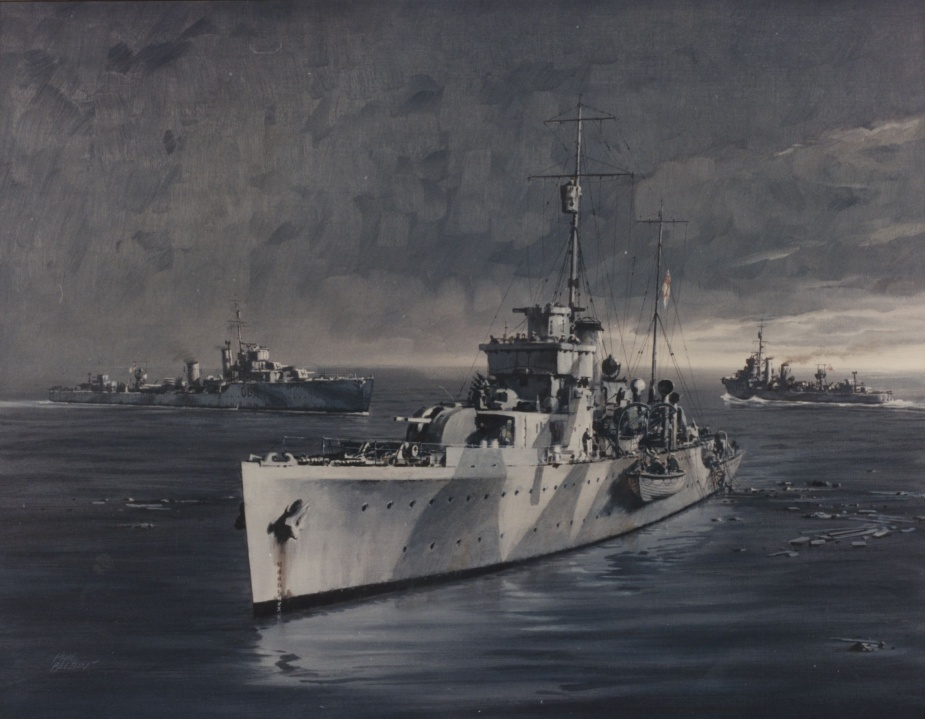 The Tobruk Ferry, HMA Ships Parramatta, Waterhen and Vendetta, June 1941. Painting by Phil Belbin courtesy of the Naval Heritage Collection