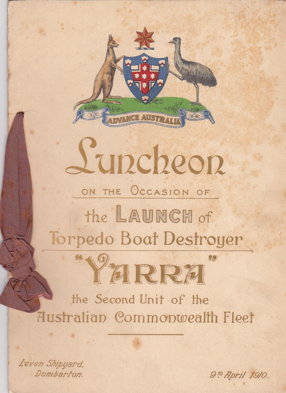 Booklet from the launch of Torpedo Boat Destroyer HMAS Yarra.