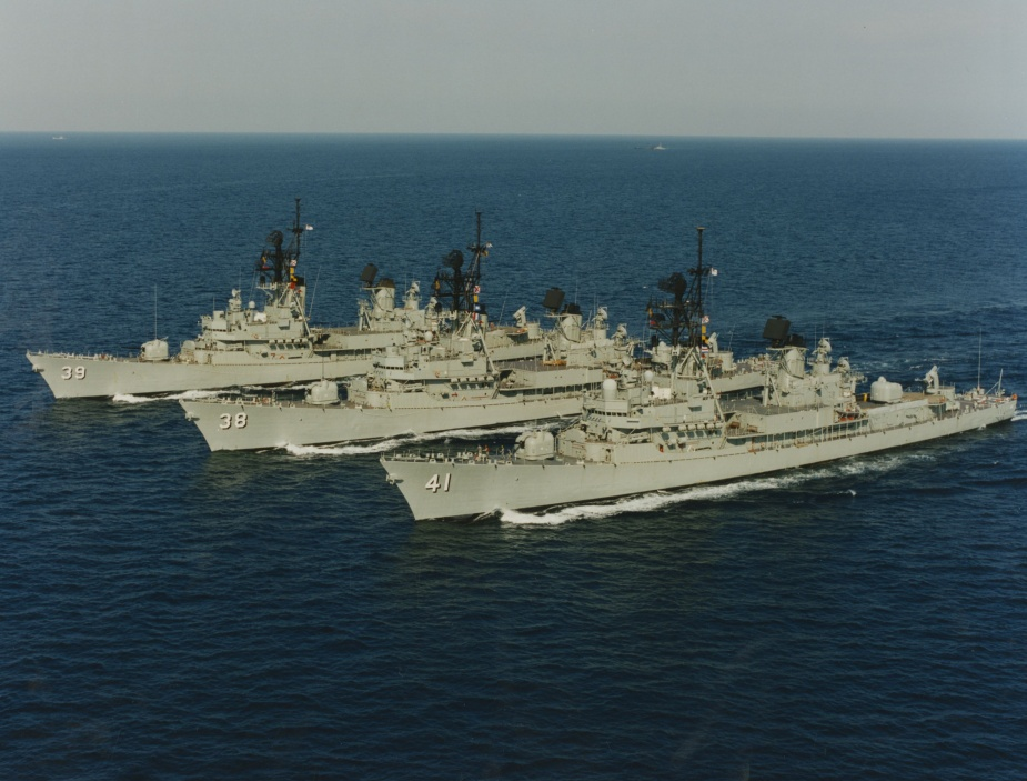 HMAS Perth in company with her sister ships, HMA Ships Brisbane and Hobart