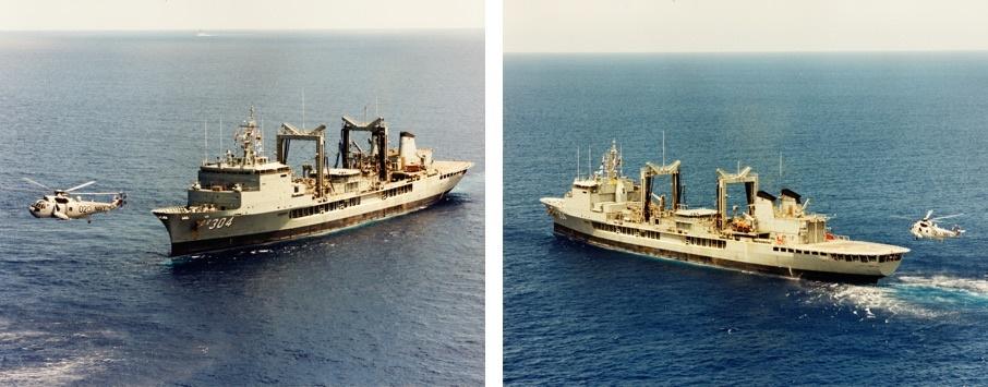 HMAS Success (II) and her embarked Sea King helicopter Shark 02, circa 1993. (JS O'Hara collection)