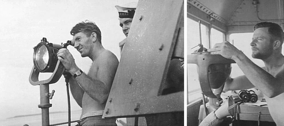 Left: Directional flashing light was routinely used during World War II to pass signals between ships. Right: One of Stawell's officers takes a routine navigational fix while on watch on the bridge.