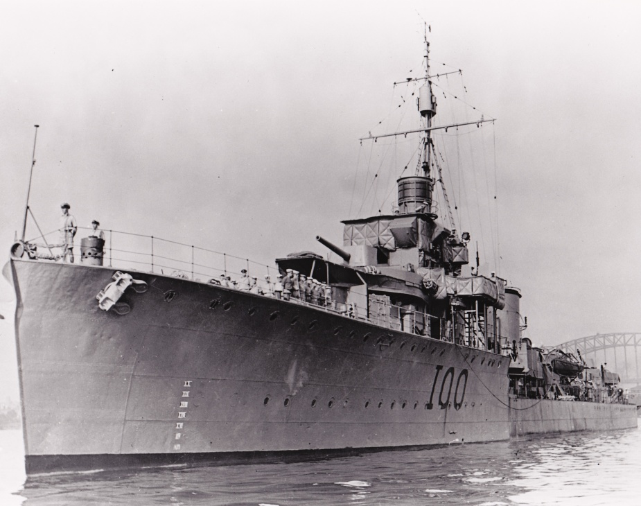 HMAS Stuart with splinter mats visible fastened to her bridge and forward superstructure