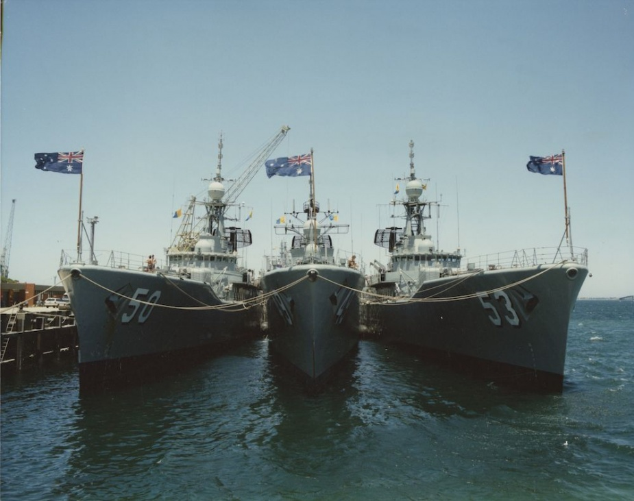 After Sydney being Swan's homeport for 16 years she became the second River Class DE to be homeported in HMAS Stirling, FBW. Pictured from left to right: HMAS Swan, Derwent and Torrens.
