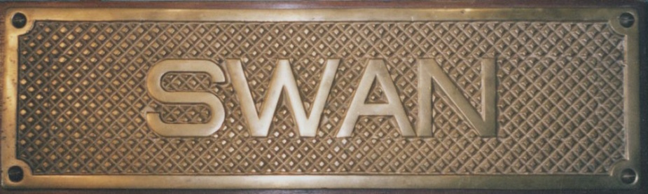 HMAS Swan (II)'s brass tread plate. Tread plates were usually located on the quarterdeck of ships where gangways were rigged. As the name suggests they were normaly the first part of a ship that one stepped onto when coming aboard.