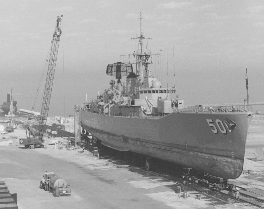 HMAS Swan during refit in 1989.