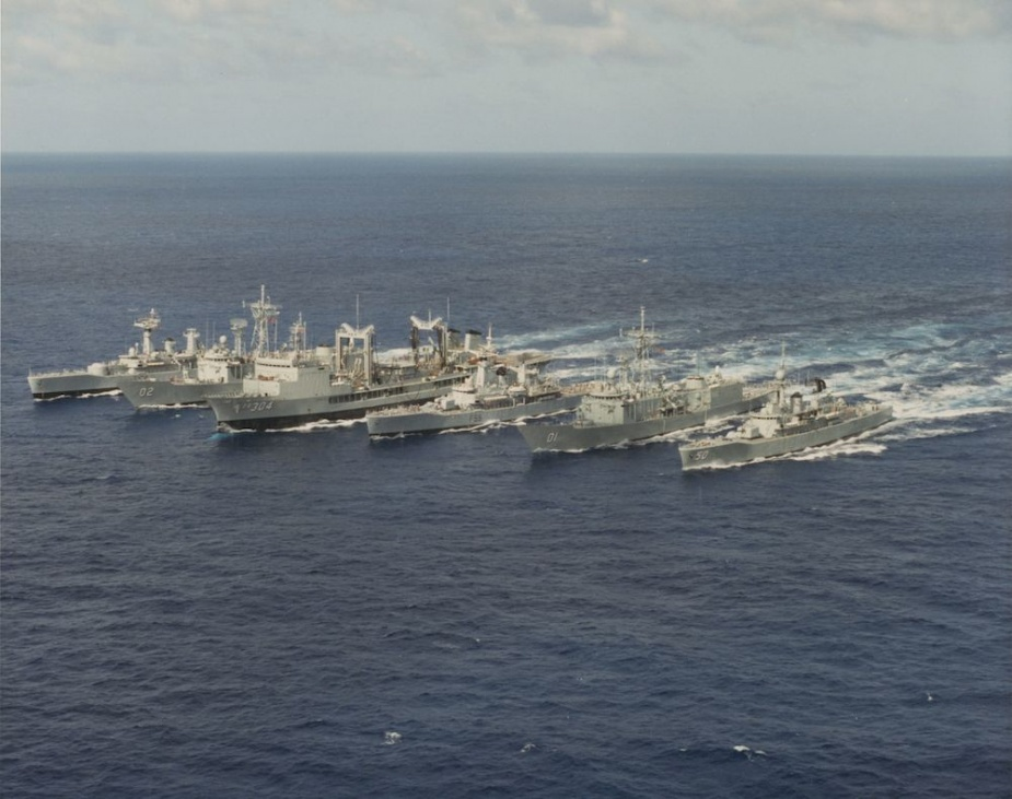 HMAS Swan far right in line abreast formation.