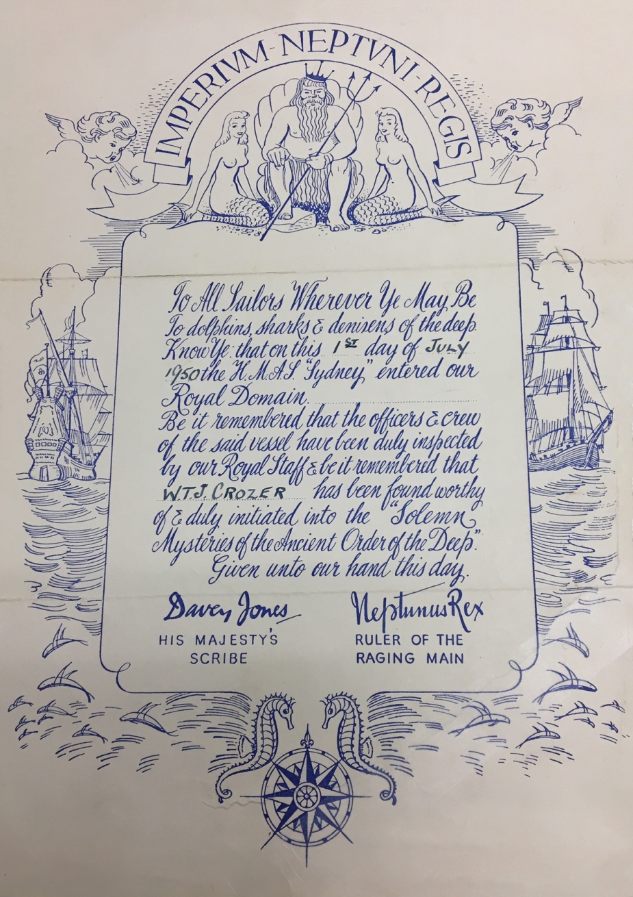 HMAS Sydney (III) certificate, 1950. The blowing winds, Zephyr and Boreas, are another recurring theme.