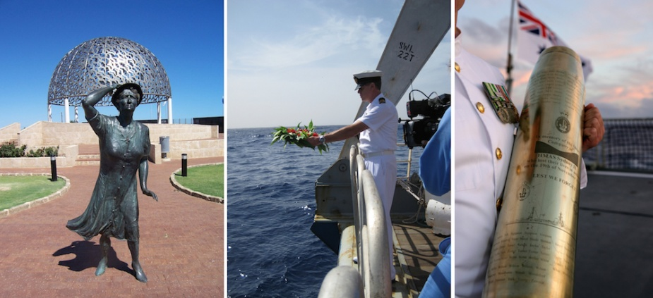 Left: A number of cities around Australia have erected memorials to those lost in HMAS Sydney (II). The 'waiting woman' is a poingnat component of the Mount Scott Memorial in Geraldton, WA. Middle: Lieutenant D.J. Perryman, RANR casts a wreath from the stern of the Geosounder over Sydney's wreck. Right: Following the completion of the search expedition the RAN provided an opportunity for relatives of those lost in Sydney to pay their respects over the site of the wreck. There a brass shell casing, inscribed