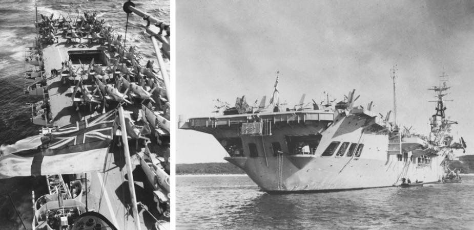 Left: Sydney en route to Australia with her aircraft embarked on the flight deck. Right: Sydney unloading aircraft for transfer ashore to NAS Nowra while at anchor in Jervis Bay, NSW.