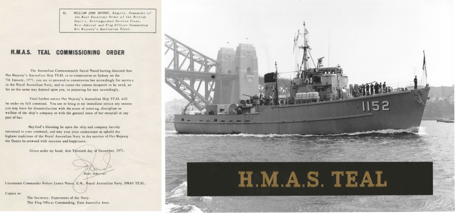 HMAS Teal's 1971 Commissioning Order.