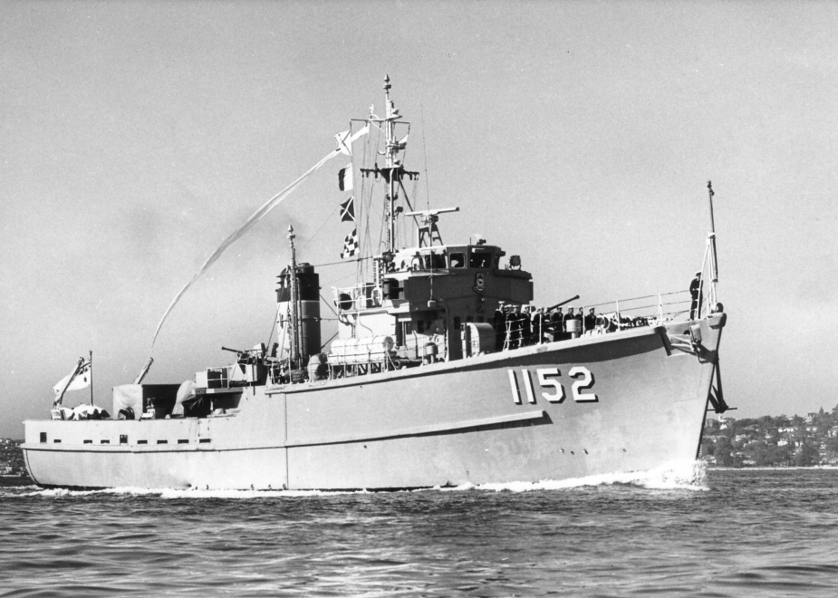 HMAS Teal flying her decommissioning pennant prior to 'paying off' for the last time.