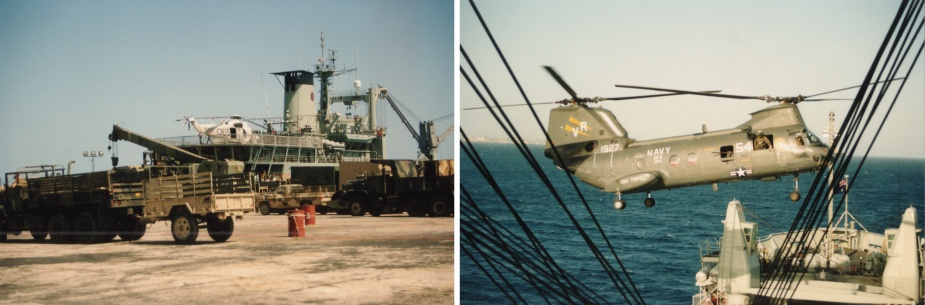 Left: Tobruk moored in Mogadishu, 20 January 1993. Note her embarked Sea King helicopter from 817 Squadron ranged on her flight deck. Right: Tobruk conducts a vertrep with a Sea Knight helicopter from USS Tripoli.