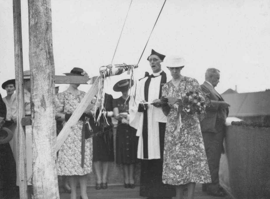 Mrs Lowther, wife of a Walkers Ltd employee, pictured above holding a bouquet of flowers, was the launching lady for Toowoomba.