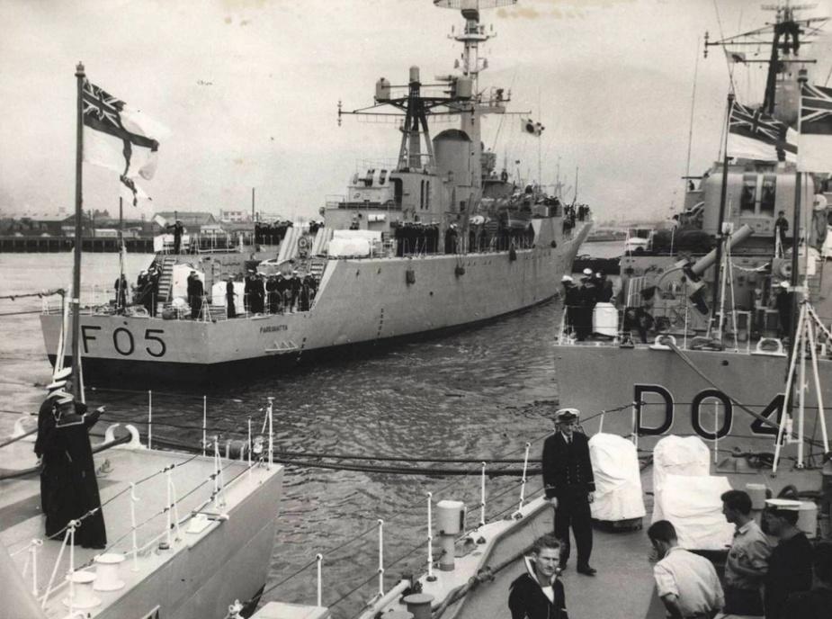 HMAS Voyager and HMAS Parramatta berth in the Yarra River, Melbourne to participate in Melbourne Cup activities, 6 November 1961