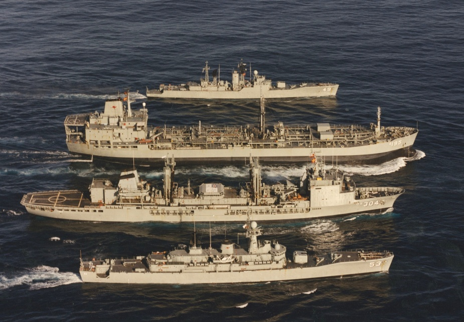Westralia in company with her sister tanker HMAS Success and destroyer escorts Torrens (53) and Derwent (49) c.1994