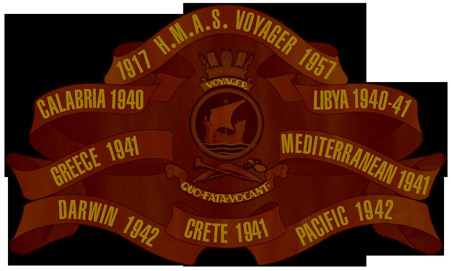 HMAS Voyager Battle Honour Board.