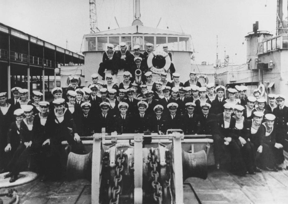 Ships company of HMAS Cowra, c. 1951.