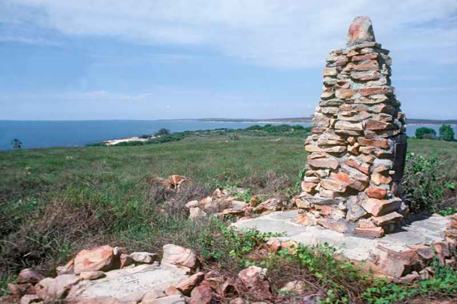 Concrete and sandstone cairn on Observation Island built by crew of HMAS Geranium 1923. Image taken in the 1990s.