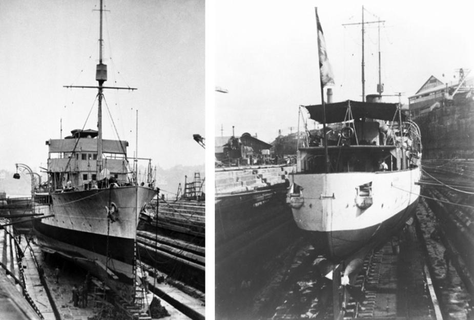 Geranium at Cockatoo Island Dockyard undergoing repairs after her grounding in northern Australian waters in 1923.