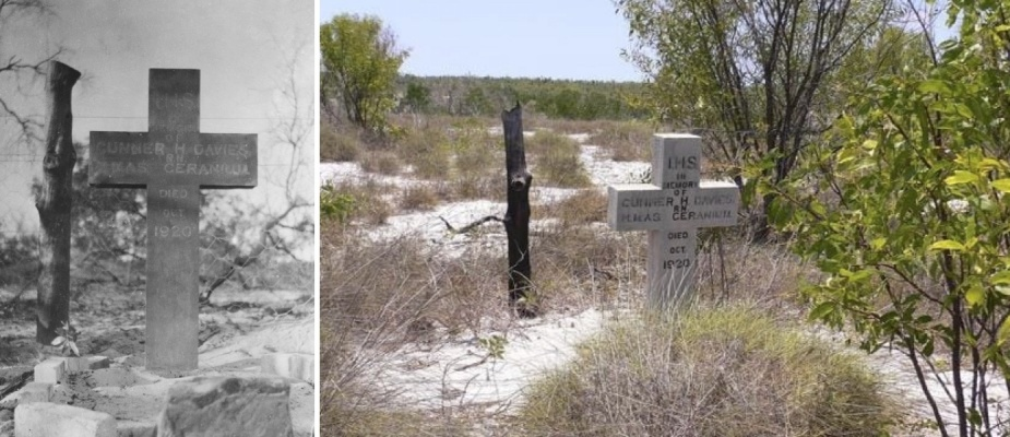 Left: Warrant Officer (Gunner) John Henry Davies' grave at Pago Mission Cemetery in 1920. Right: Image of the grave, taken circa early 2000s.