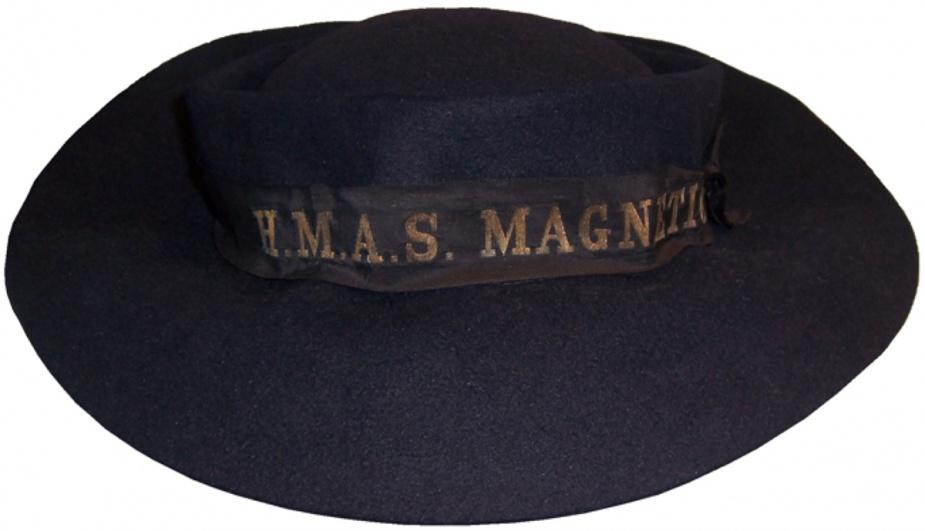A WRANS wool felt hat with HMAS Magnetic cap ribbon.