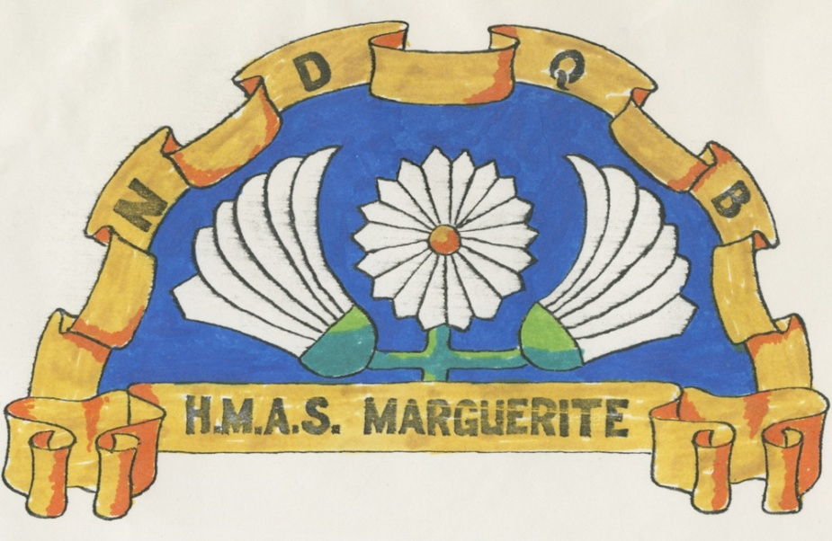 Unofficial badge of HMAS Marguerite, Flower Class sloop, circa 1918. Letters NDQB are the ship's international signal letters.