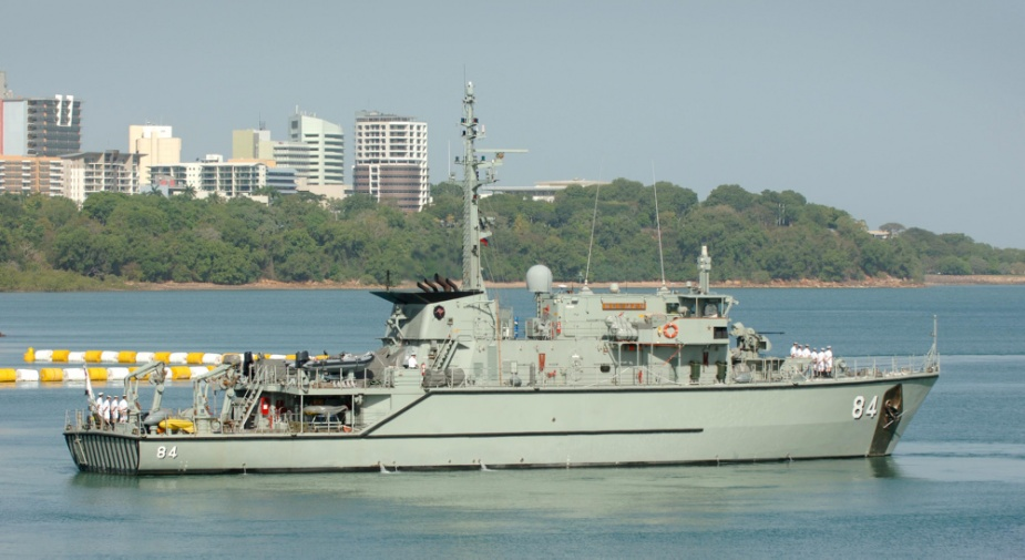 HMAS Norman leaves HMAS Coonawarra in Darwin for Exercise BERSAMA LIMA 2008, 25 September 2008. Exercise BERSAMA LIMA is an annual exercise with air, ground and naval forces from Australia, New Zealand, the United Kingdom, Singapore, and Malaysia participating to practice inter-operability amongst the countries.