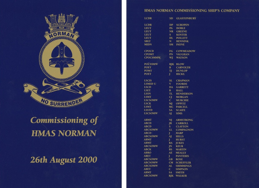 HMAS Norman (II)'s commissioning booklet.
