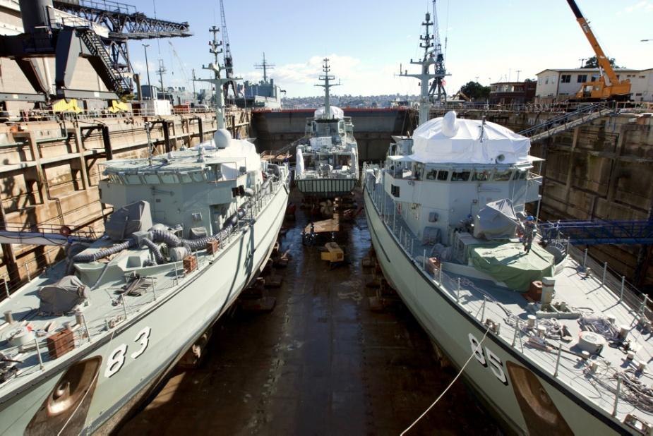 Mine Hunter Coastal HMAS Hawkesbury (83), HMAS Norman (84) and HMAS Gascoyne (85) in the dry dock at Fleet Base East Garden Island, 19 August 2010.